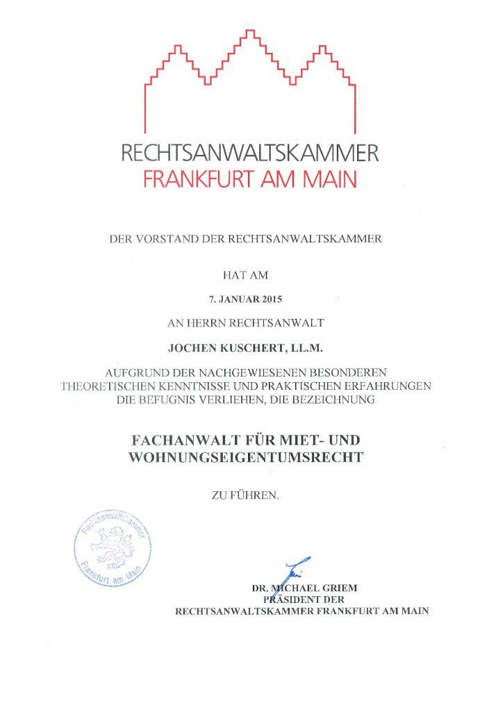Verleihungsurkunde Fachanwalt Miet- & WEG-Recht
