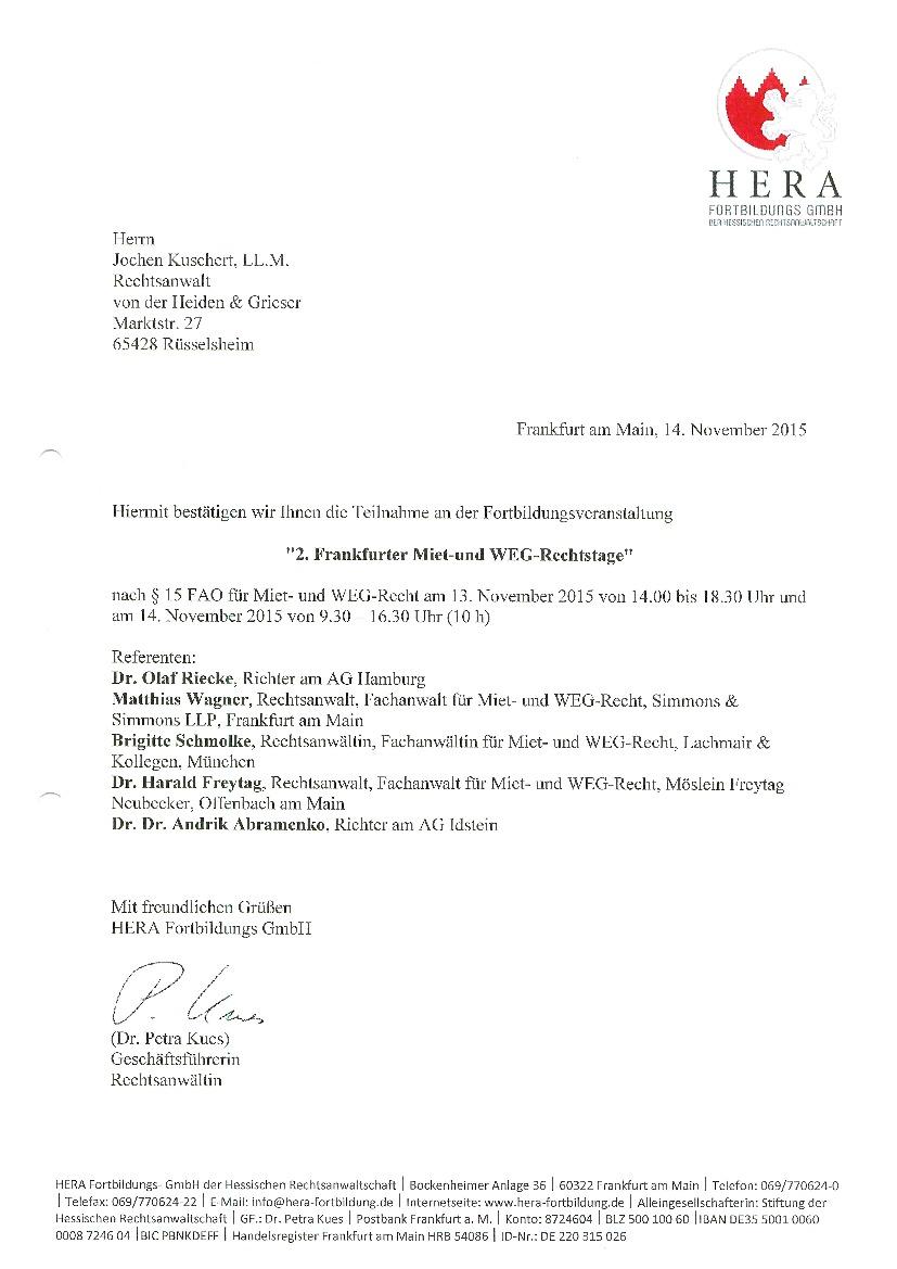 2. Frankfurter Miet- und WEG-Rechtstag